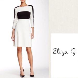 Eliza J Black and White Colorblock Dress